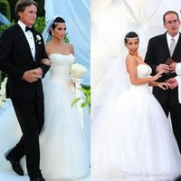 Wholesale Strapless Dress Puffy Skirt - 2016 winter wedding dresses strapless drop waist puffy a line court train kim kardashian white tulle bridal gowns