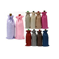 Wholesale Wholesale Party Paper Bags - Linen Red Wine Bag Drawstring Bags Fancy Carrier Present Gift Single Bottle Jute Wine Pouches Party Decor OOA2733