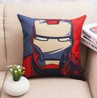 """Wholesale Iron Man Core - Cotton Linen Throw Cushion Pillows Core Included Square Pillow Iron Man Home Textiles Seat Cushions for Sofa Decoration 18""""X18"""""""