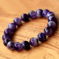 Wholesale Round Natural Gemstone Bead Stretch - Natural Dream Amethyst Gemstone Round Beads Stretch Bracelet 12mm
