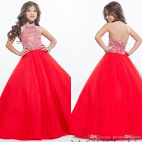 Wholesale Girls Gold Sparkly Dresses - Rachel Allan 2016 Sparkly Girls Pageant Dresses for Teens Halter Tulle Floor Length Rhinestone Little Girls Prom Party Dresses