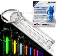 Wholesale luminous keychain - Wholesale-Crystal Clear Nite Tritium Glowring Keychain Key Fob Night Automatic Light Self Luminous Fluorescent Tub Tritium