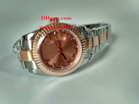 pulseira de mulheres asiáticas venda por atacado-Senhoras relógio de alta qualidade 31MM Asian 2813 esportes calendário de vidro de safira mostrador rosa Two Tone pulseira de ouro Mulheres relógios automáticos de relógios