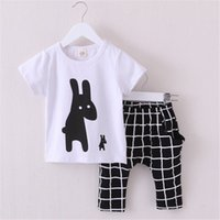 Wholesale Patterns Baby Clothes - Hot Summer Boys Clothes 2016 New Baby Boy Clothing Set Pattern Rabbit Toddler Boys Clothing Plaid Kids Clothes Children Clothing Set