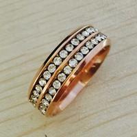 vintage roségold diamantringe großhandel-Modemarke Trendy Vintage CZ Diamant Frauen Hochzeit Ringe für Frauen Klassisches Design Rose Gold Farbe Edelstahl 2 Reihe ZirconRing