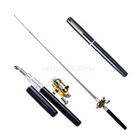 Wholesale Pocket Fish Pen - Wholesale-FuLang Mini Portable Pocket Fish Pen Aluminum Alloy Fishing Rod Pole Reel Pocket Pen Fishing Rod Pole Reel Combos FL89