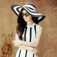 Atacado- Black White Wide Hat Mulheres Floppy Férias Summer Beach Striped Sun Cap