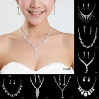 Jewelry Sets bling jewellery - Bling Bridal Jewelry Crystal Rhinestones Bride Prom Wedding Jewellery Sets Necklace Drop Earrings Bridal Accessories New