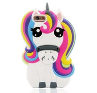 Para Samsung Galaxy S8 S6 S7 EDGE Case 3D Rainbow Unicorn Horse Cute Cartoon Silicone Rubber Soft Cell Phone Cover Galaxy Note 8