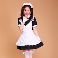 Wholesale Maid Uniform Cute - Wholesale-Halloween Costumes for Women Coffee House Waitress Uniforms Cute Girl dress Anime Maid Cosplay Costume