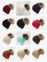 Wholesale Knit Snow Hat - 2017 New Unisex Snow hat cc beanies Warm Skull Caps Chunky Soft Oversized Cable Knit Slouchy Beanie 12 color knitted Hats With Raccoon 15cm