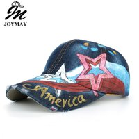 2017 Nueva pintada a mano AMERICANA Pentagonal Color Stripes Washed Cowboy Gorra de béisbol JOYMAY Alta calidad Sports Cap Casual Leisure Hat B478