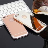Wholesale iphone aluminium metal bumper - 2018 New arrival!Luxury Mirror Gold Metal Aluminium Bumper Hybrid Hard Phone Back Case Cover for Samsung S8 S7