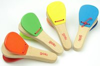 Wholesale Wooden Music Instruments Children - Orff Percussion Instruments Wooden Handle castanets knock musical instrument toy for Children Gift Baby Solid Wood Music Toys