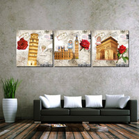 cartoon ben Australia - Wall decoration Unframed 3 Pieces picture Canvas Prints rose Leaning Tower of Pisa Big Ben Triumphal Arch Statue of Liberty branch flower
