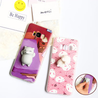 Wholesale S4 Cartoon - Cartoon Squishy Toys Phone Case for Samsung S8 S6 S7 EDGE Soft Cute Animal Stress relief Cases Cover for Galaxy S8 S3 S4