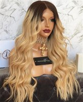 Wholesale Long Straight Hair Side Parting - Two Tone Lace Front Wig Peruvian Remy Hair 150 Density Ombre Color Side Part Deep Wavy Human Hair Wig For Black Women