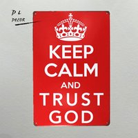 DL- 12x8 pollici Mantieni la calma e la fiducia God Retro Vintage Decor Metal Targa in metallo 12 X8 pollici garage wall art sticker