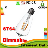 filamento led regulable al por mayor-Super brillante dimmable E27 ST64 Edison Style Vintage COB Retro Filamento de la lámpara Bombilla de luz blanca cálida 85-265V retro LED filamento bombilla