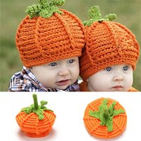 Wholesale Photo Baby Toy - Halloween Pumpkin Child Hand Hat Photography Props Design Baby Hat Newborn Photo Props Knitted Baby Cap BP082