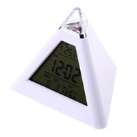 Wholesale Digital Alarm Clock Triangle Color - Hot LED Color Changing LCD Display Alarm Clock Thermometer Gift Durable free shipping 2016