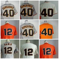 # 40 Madison Bumgarner Großhandel Günstige Baseball Trikots San Francisco SF Authentische Hause Straßencreme Grau Orange Cool base Jersey