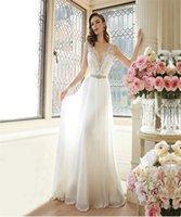 Wholesale Ship Wedding Dress China - 2016 Simple Elegant Empire Wedding Dresses V-Neck Newest Chiffon Bridal Wear Vintage Style Wedding Dress From China Free Shipping