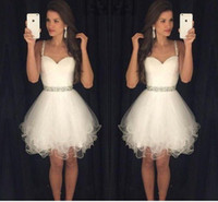 Wholesale Modest Cheap Peplum Dress - White 2016 Short Prom Dresses Modest Graduation Homecoming Dresses Cheap Spaghetti Straps Beaded Crystals Ruffles Party Gowns