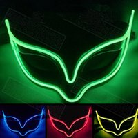 Wholesale Fox Decor - Luminous LED Mask Party Decor Fox Mask Glowing Festival LED Glowing Party DJ dance Halloween Party Mask CCA7420 20pcs