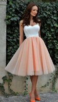 Wholesale Two Tone Knee Length Dresses - Blush Pink Two Tone Short Knee Length Prom Dresses 2016 Spaghetti Straps Draped Women Formal Cocktail Party Gowns Cheap