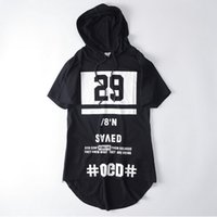 Wholesale black swag clothing online - Fashion hip hop hooded t shirt mens casual sport side zipper extended streetwear women harajuku swag clothes rock tee shirts