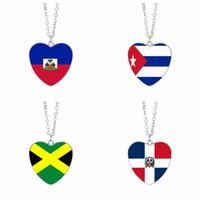 karibische halsketten großhandel-Haiti Flagge Anhänger Halsketten 25mm Herz Glas Cabochon Kuba Jamaika Dominikanische Karibik Länder Flags Frauen Schmuck Großhandel