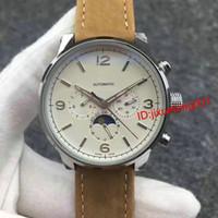 montres emballées achat en gros de-Montres de luxe Tourbillon Moon Phase Automatic montres en acier inoxydable Dress Wrap Gift cuir Casual en gros des hommes suisses montre suisse