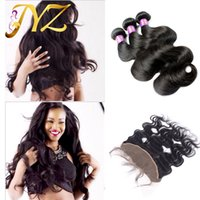 Wholesale Cheap Brazilian Piece Mix - Malaysian Virgin Hair Weaves With Lace Frontal Closure 13*4 inch Cheap 100% Unprocessed Body Wave Human Hair Bundles And Ear To Ear Closure
