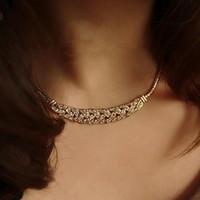 Wholesale Womens Jewelry Chunky Bib Necklaces - Fashion Charms Womens Ladies Crystal Jewelry Snake Chain Choker Chunky Statement Bib Pendant Necklace