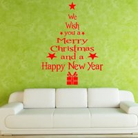 Wholesale Sticker 24cm - 43*24cm Christmas Tree Shaped Merry Christmas Greetings PVC Wall Decals Adhesive Family Wall Stickers Mural Art Home Room Decor