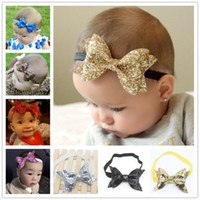 Wholesale Kids Tie Blue - Fashion Children Girls Shinning Gold Bow Tie Headband Kids Baby Hair Band Party Hair Accessories High Quality Free Shipping 7 Colors KHA270