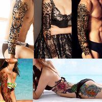 Wholesale Henna Temporary Tatoos - Water Flash Sleeve Manga Tattoos Temporary Makeup Henna Tattoo Tatoos Body Arts