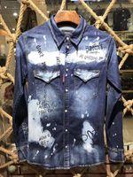 Wholesale Cotton Denim Shirts Men - 2017 New arrival famous luxury italian Brand 2 Men's Casual Shirts slim fit spring autumn denim shirts men long sleeve fashion 46 48 50 52
