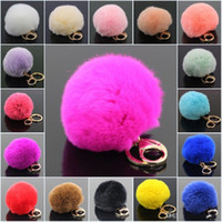 Wholesale Girls Plastic Rings - Gold Rabbit Fur Ball Keychain fluffy keychain fur pom pom llaveros portachiavi porte clef Key Ring Key Chain