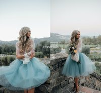 Wholesale Dress For Party Reception - Two Pieces Lace Top Long Sleeve Bridesmaid Dresses for Boho Wedding 2017 Dusty Blue Knee Length Tulle Reception Party Maid of Honor Dresses