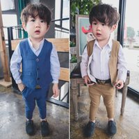Wholesale 2016 Two Piece Vest Suit Classic British Wind Quality Virgin Boy Suit Children Clothes Young Gentleman Boy Baby Formal Party Wedding Suits