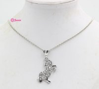 Wholesale Czech Crystal Necklaces - Lead Nickel Free Equestrian Horse Jewelry Made of Zinc Alloy with Czech Crystal Rhinestone Silver Color Horse Pendant Necklace