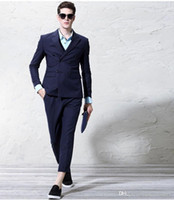Wholesale Double Breasted Vest Tuxedo - Double-Breasted Back Vent Groom Tuxedos Dark Blue Peaked Lapel Men's Wedding Dress Holiday Clothing Business Suit(Jacket+pants+tie+Vest)