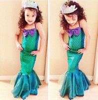 Wholesale Little Girls Mermaid Costumes - Kids Girls dress Little Mermaid dress Princess Fancy Dresses Party Cosplay Costume 3-12Years Children clothing