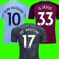 Wholesale Short Jesus - Thailand aaa KUN AGUERO DE BRUYNE G JESUS soccer jerseys 2017 2018 WALKER KOMPANY STERLING jersey 17 18 MENDY football shirt SANE BERNARDO