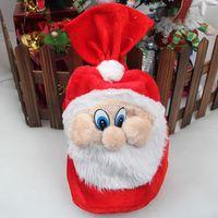 Wholesale Santa Claus Backpack - Free shipping New Chrismas Gift Bag X-mas Backpack Cartoon Santa Claus Super Soft Sack Christmas Candy Bag drawstring 50*40cm JF-48