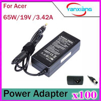 Wholesale Pc Adapter Acer - 100pcs AC Adapter Charger 19V 3.42A 5.5x1.7mm 5.5*1.7mm Power Supply for Acer laptop Notebook YX-PC-19