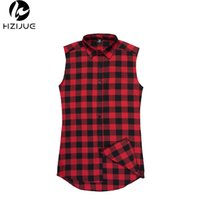 Großhandel- HZIJUE Hip Hop Herrenhemd Chris Brown übergroßes Gold Side Reißverschluss Extended Plaid Shirt Casual Red Ärmelloses T-Shirt Tyga XXL