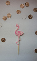 Pink Glitter Flamingo Cupcake Toppers compleanno tropicale Wedding Bridal Shower Fidanzate Party Foods